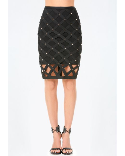 bebe studded cage skirt in black lyst