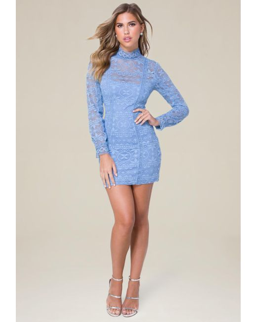 Bebe | Blue Molly Lace High Neck Dress | Lyst