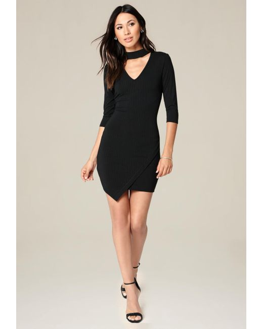 Bebe | Black Ebonee Faux Wrap Dress | Lyst