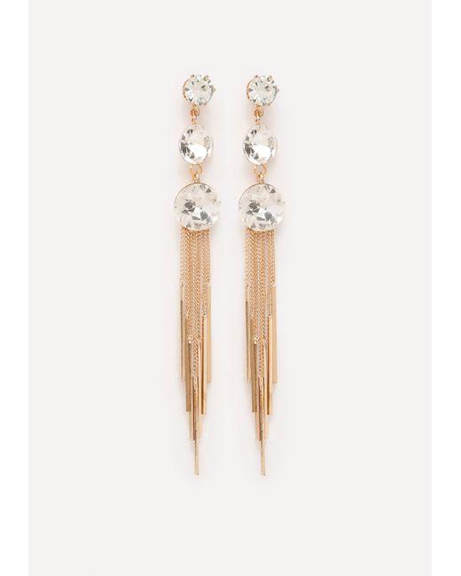 Bebe   Metallic Crystal Droplet Earrings   Lyst