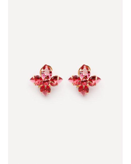 Bebe   Red Floral Stud Earrings   Lyst