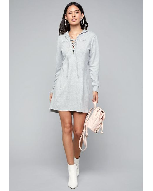 5e4469482e Bebe - Gray Logo Lace Up Hoodie Dress - Lyst ...