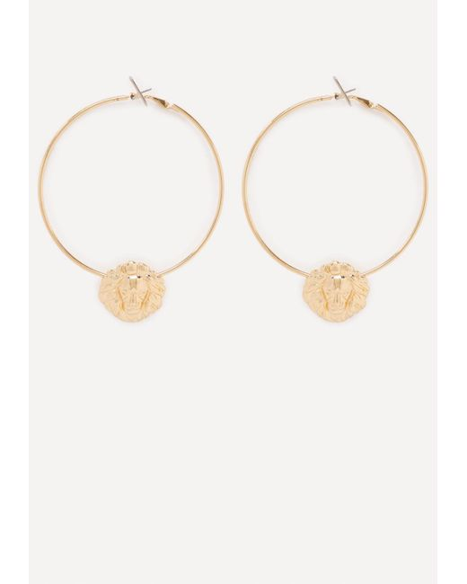 Bebe | Metallic Lion Hoop Earrings | Lyst