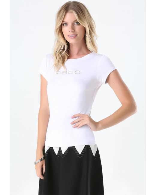 Bebe | White Logo Rhinestone Tee | Lyst