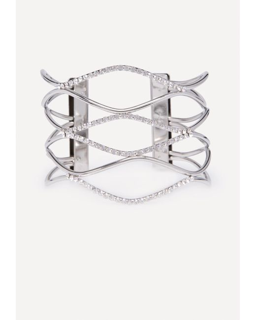 Bebe - Metallic Crystal Wave Cuff - Lyst