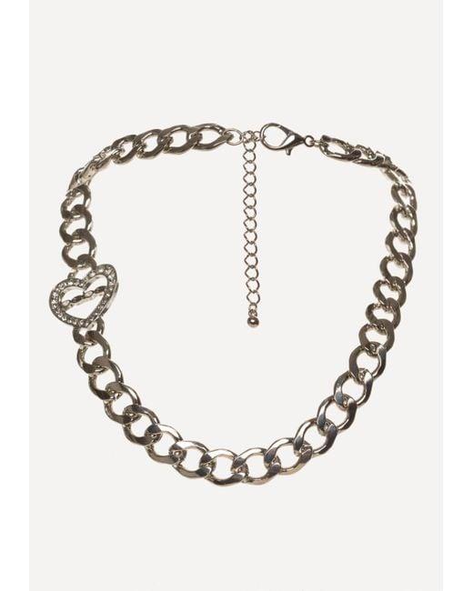 Bebe   Metallic Logo Linear Heart Necklace   Lyst