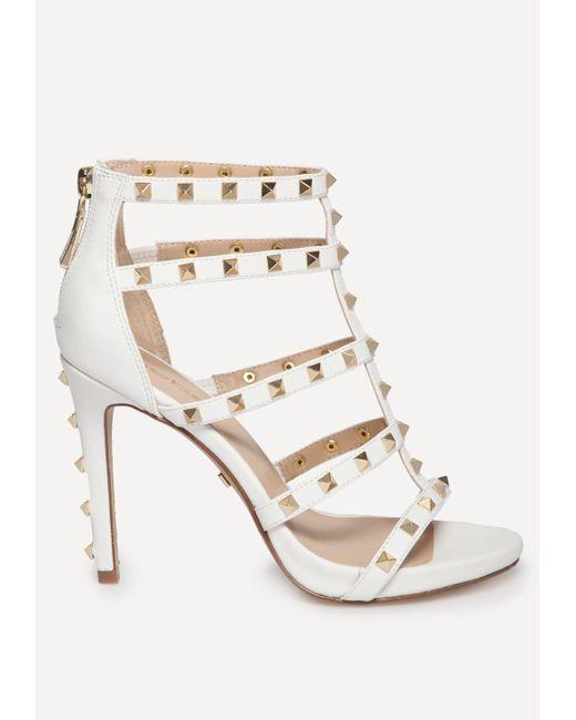Bebe - White Sophia Studded Sandals - Lyst