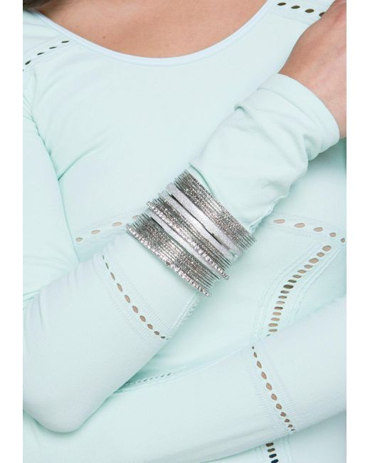 Bebe | Metallic Glitter Crystal Bangle Set | Lyst