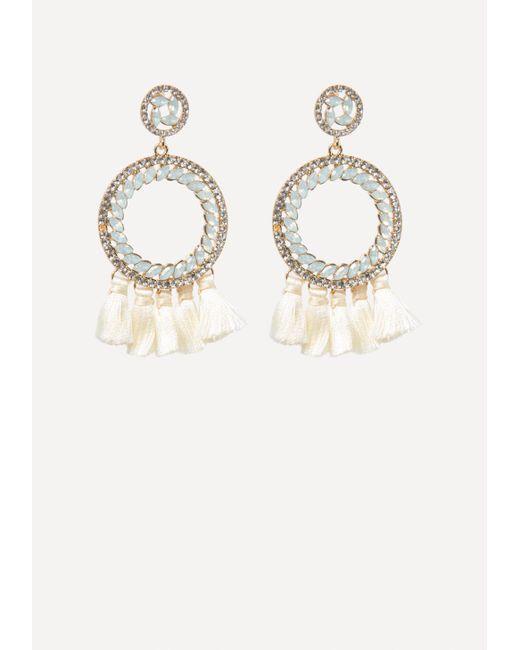Bebe - Metallic Tassel Hoop Earrings - Lyst