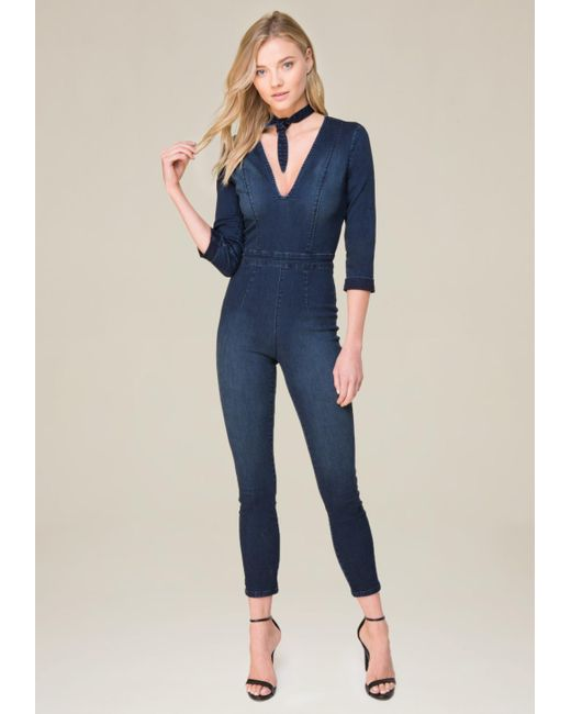 Bebe | Blue Tie Neck Denim Jumpsuit | Lyst