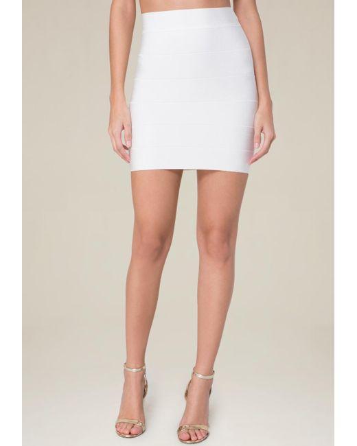 Bebe | White Solid Bandage Skirt | Lyst
