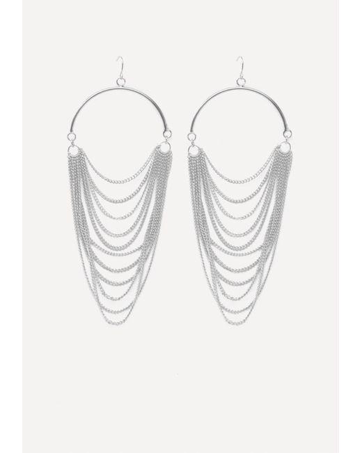 Bebe   Metallic Draped Chain Earrings   Lyst
