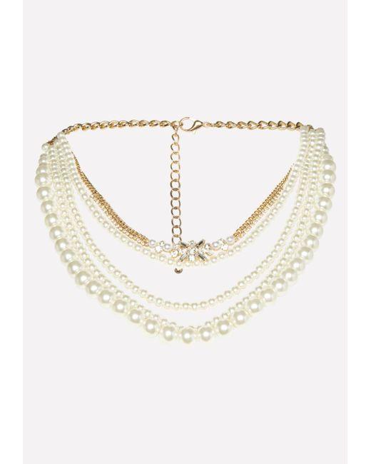 Bebe - Metallic Faux Pearl Necklace - Lyst