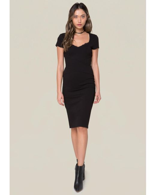 Bebe - Black Lace Trim Ponte Dress - Lyst