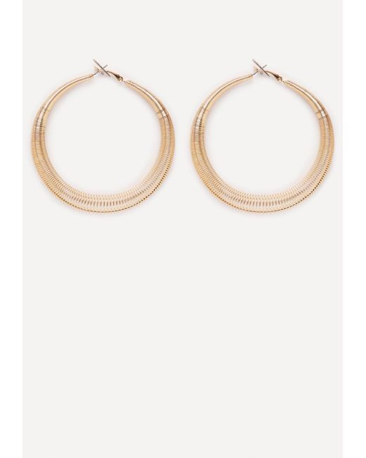 Bebe | Metallic Spiral Hoop Earrings | Lyst