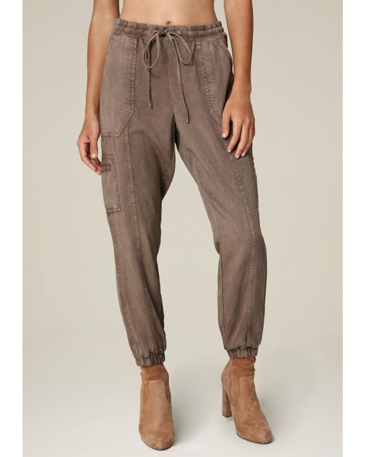 Bebe | Brown Twill Cargo Jogger Pants | Lyst
