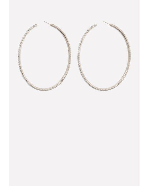 Bebe - Multicolor Crystal Open Hoop Earrings - Lyst