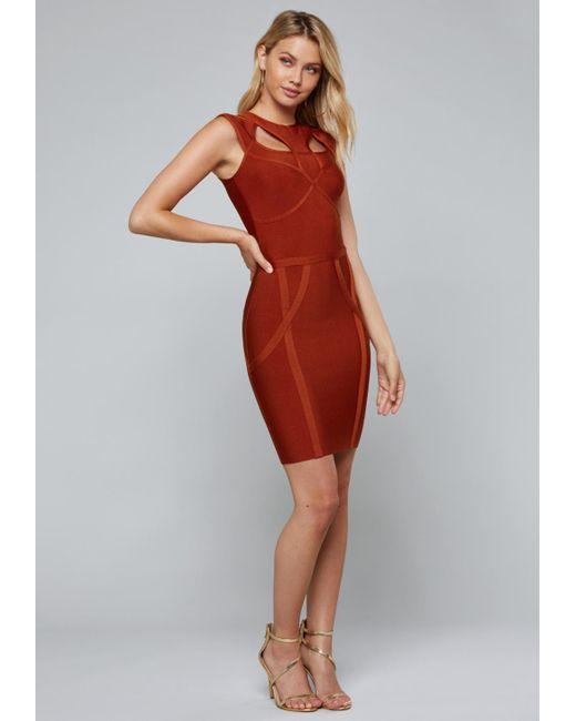 Bebe - Red Cutout Bandage Dress - Lyst
