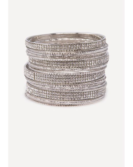 Bebe - Metallic Crystal Bangle Set - Lyst