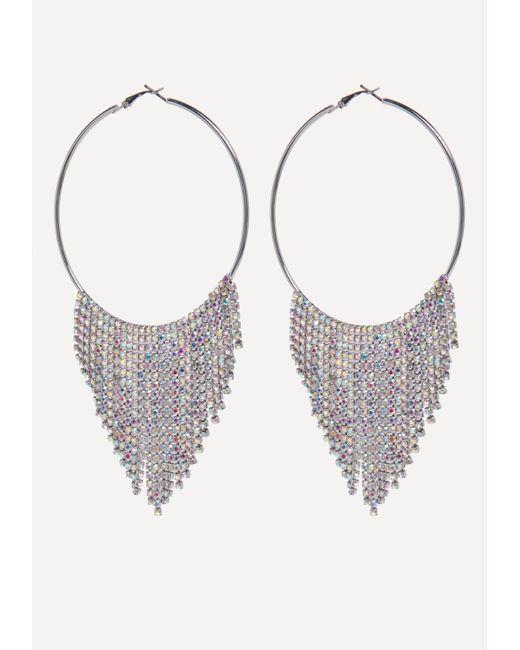 Bebe - Multicolor Fringe Hoop Earrings - Lyst
