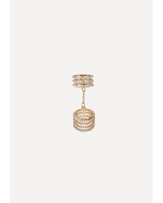 Bebe - Metallic Chain Linked Crystal Ring - Lyst