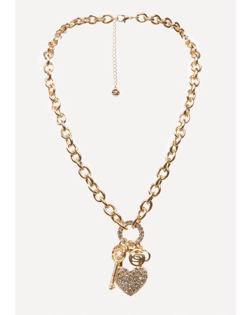 Bebe | Multicolor Logo Charm Necklace | Lyst