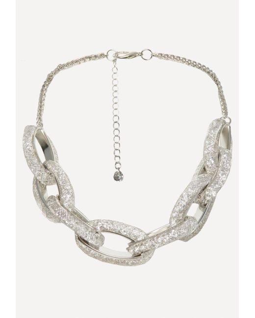 Bebe - Metallic Crystal Link Necklace - Lyst
