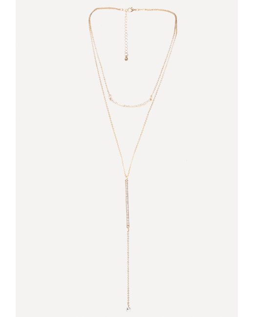 Bebe - Metallic Gold & Crystal Lariat - Lyst