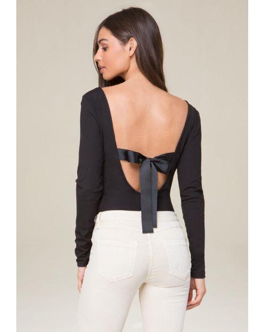 Bebe   Black Back Ribbon Tie Bodysuit   Lyst
