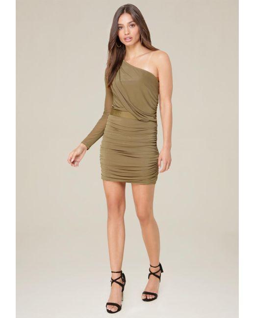 Bebe | Green Mesh One Shoulder Dress | Lyst