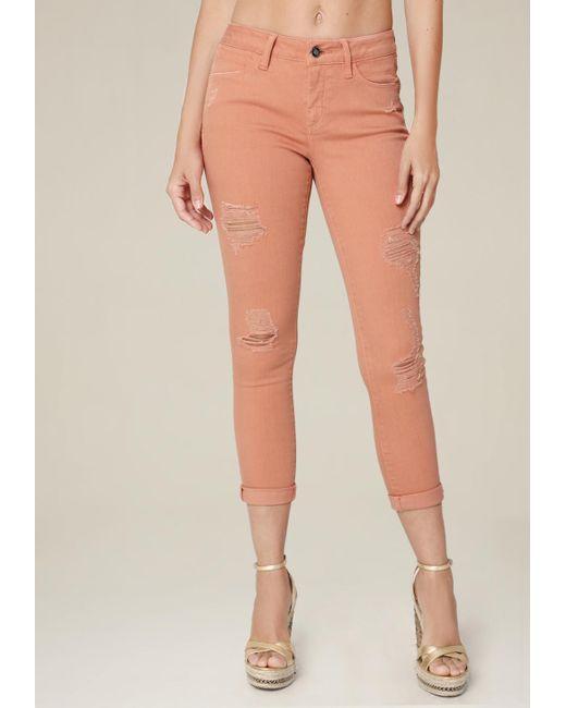 Bebe - Orange Ripped Heartbreaker Jeans - Lyst