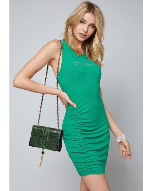 Bebe - Green Logo Mila Ruched Dress - Lyst