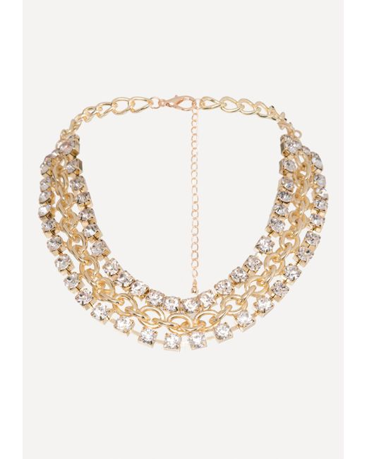 Bebe - Multicolor Crystal Chain Necklace - Lyst