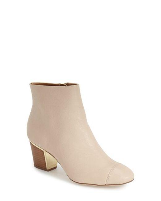 Calvin Klein | Natural 'Kristi' Block Heel Bootie | Lyst
