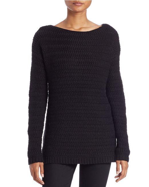 Lord & Taylor | Black Rack-stitch Boat-neck Sweater | Lyst
