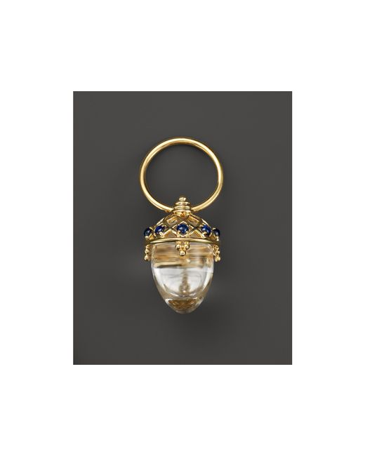 Temple St. Clair | Metallic 18k Yellow Gold Acorn Amulet With Oval Rock Crystal And Blue Sapphire | Lyst