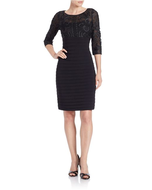Adrianna Papell | Black Illusion Sheath Dress | Lyst
