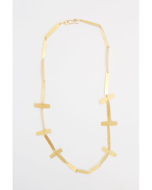 Annie Costello Brown - Metallic Cross Bar Necklace Gold - Lyst