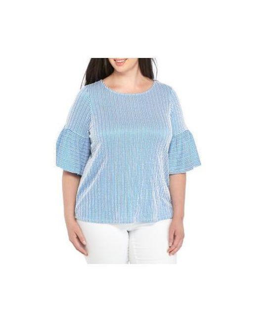 9cceadaa851 Lyst - Calvin Klein Plus Size Seersucker Puff Sleeve Blouse in Blue