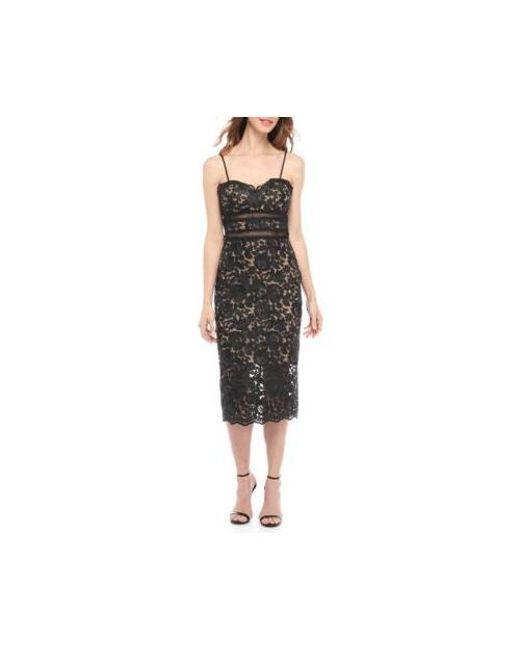 e519d3ffb8a Lyst - Xscape Lace Midi Sheath Dress in Black