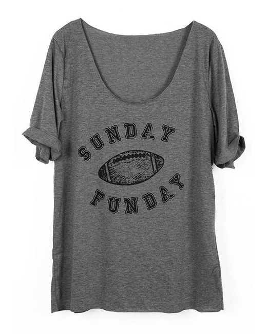9368cd7fae265 Belle Lily   Gray Sunday Funday Football Printed T-shirt   Lyst ...