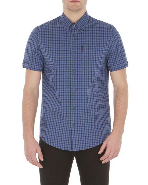 Ben Sherman - Blue Short Sleeve Mid Scale House Gingham Shirt for Men - Lyst