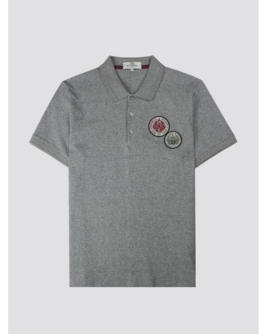 18b02b251 ... Ben Sherman - Gray Embroidered Badge Polo Shirt for Men - Lyst ...