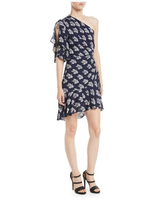 A.L.C. - Blue Misha One-shoulder Ruched Floral-print Silk Dress - Lyst