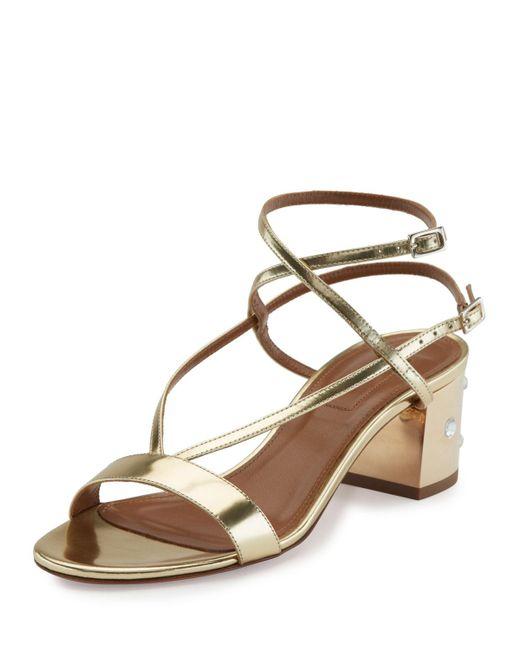 Aquazzura | Metallic Sunset Siren Strappy Block-heel Sandal | Lyst