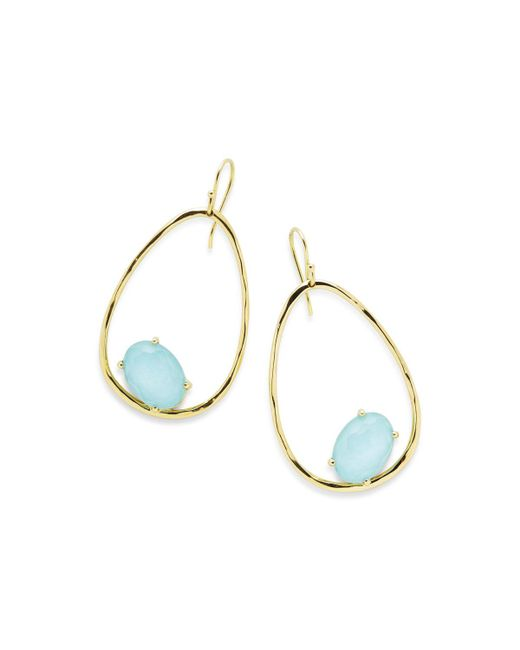 Ippolita | Blue 18k Rock Candy Tipped Oval Wire Earrings In Clear Quartz And Turquoise | Lyst