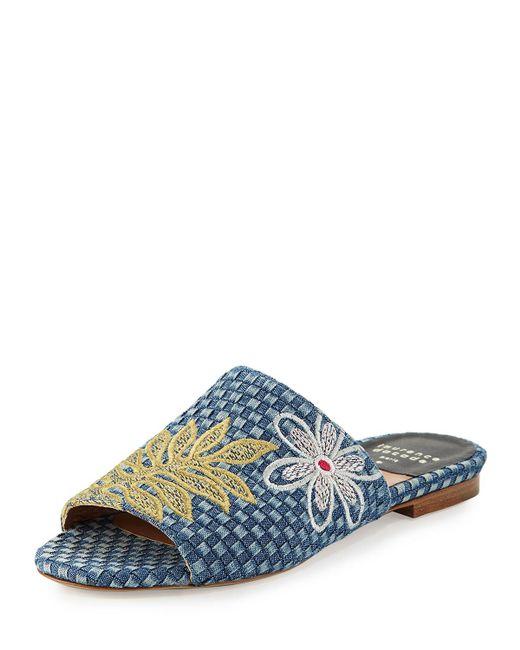 Laurence Dacade | Blue Nice Embroidered Denim Slide Sandals | Lyst
