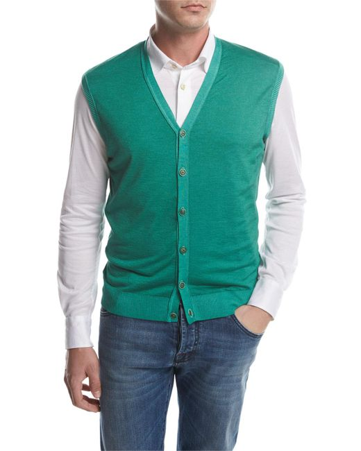Kiton - Green Cashmere-silk Cardigan Vest for Men - Lyst