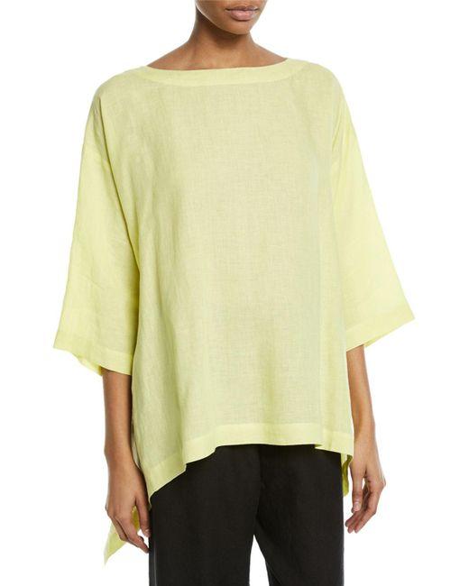 Eskandar - Yellow 3/4-sleeve Cascading Sides Linen Tunic - Lyst