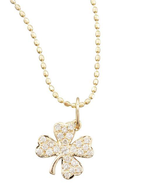 Sydney Evan - Metallic Small Diamond Clover Pendant Necklace - Lyst